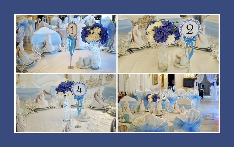 Blumendeko Hortensien Astern blau und weiß in langen Vasen