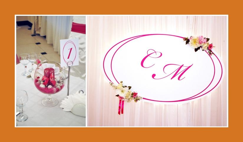 Brautpaartisch-Hintergrund Pink Weiß mit Initialen