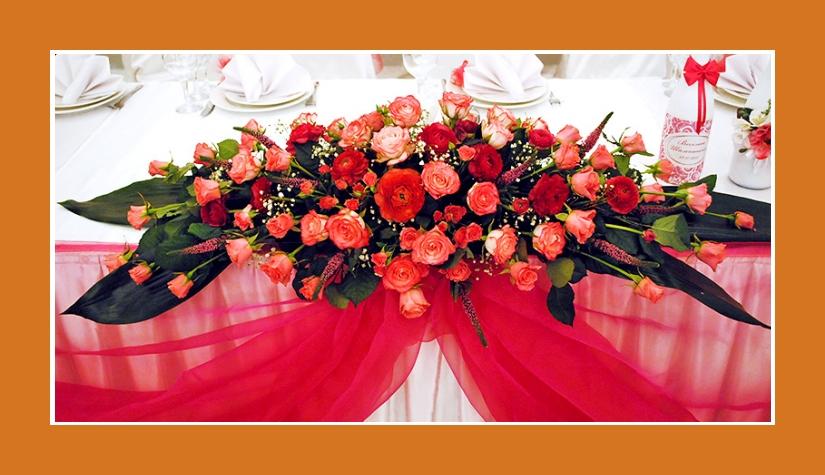 Tischrock pink weiß aus Satin und Chiffon
