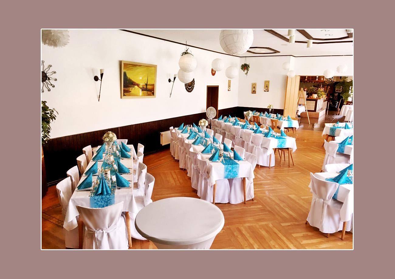 Russische Hochzeit in Mannheim, Worms, Bensheim - Tischdeko Türkis